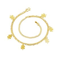 Fashion Beach Anklet Five Piece Four Leaf Clover Charms Ankets 24K Gold Plated Gold Jewelry Lady Acessórios Menino Love Beauty Gift