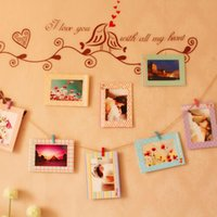 "Wholesale Hot Picture Frames - Fashion Hot Decoration Home Art Wall 8pcs 6"" Hanging Photo Picture Frames + Wood Clips& Rope"