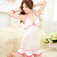 Wholesale Lace See Through Dress Lingerie - Wholesale- Sexy Womens Sleepwear Lingerie Dress+G String 2 Pcs Set Lace See Through Bowknot For Hot Selling