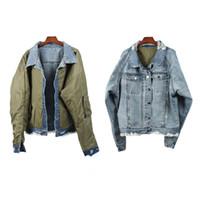 Wholesale Best Winter Wear - 2018 TOP winter best version Justin Bieber OVERSIZE Men Old Wear Hole Double-sided jacket hiphop Fashion Denim jackets Coat M-XL