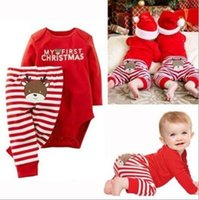 Wholesale Long Sleeve Romper Pants Suit - INS Europe and America New Christmas styles children's suits pure cotton long sleeves letter print romper +stripe pants two sets