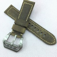 Wholesale Good Cracks - 24mm 120 75mm luxury good quality Green Crack Calf Leather Strap Band Screw Submarine Tang Buckle