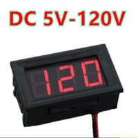 Wholesale Voltmeter Wires - 10pcs lot 0.56 inch Red LCD display DC 5-120V Panel Meter Digital volt menter Voltmeter with two wire