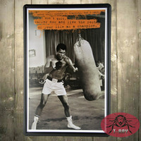 Wholesale Ali Posters - Muhammad ali Retro Metal Art Poster Vintage Antique Metal Tin Signs Decor home club G-58 160909#