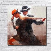modern çerçeveli duvar resmi toptan satış-Adam ve Kadın Tango Yağlıboya Ev Dekorasyon Duvar Resimleri El Boyalı Modern Resim Tuval Yok Çerçeveli