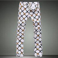 erkek kot pantolon beyaz sığdır toptan satış-Erkek moda aslan baskı denim kot Erkek slim fit beyaz ince denim pantolon Uzun boyalı pantolon Ücretsiz kargo