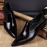 Wholesale Men Rubber Clothes - Men pointed out that toe leather clothes of high quality official Korean groom wedding shoes black leather men's Oxford men's shoes