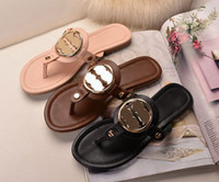 Wholesale Shoe Nude Patent Leather - Travel Boho Flat Heel Flip Slippers Gold Buckle Genuine Leather Summer Beach Flip Flops Sandals Shoes Women Sz 35-40