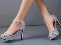 Wholesale Wedding Shoes Taiwan - Summer with fish mouth high-heeled sandals women feeling fine silver diamond shoes waterproof Taiwan dating white wedding bride