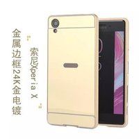 Wholesale Cover Follows - Luxury Metal Bumper For SONY X Performenca Following SOV33 Golden Plating Mirror Clear View Aluminum Bumper Frame Metal Back Cover Case