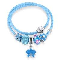 Wholesale Murano Gold Bracelets - New Arrival Leather Wrapped Bracelet Murano Glass European Beads Fit Pandora Charms Bracelet Bangle Bracelets For Women