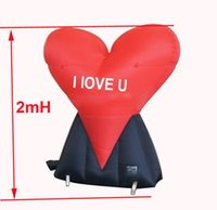 Wholesale Inflatable Hearts - 2mH inflatable red heart for Valentine's Day ,wedding decoration ,free shipping