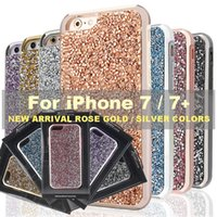 Wholesale Galaxy Note Bling - for iPhone x 6s 7 7plus Samsung Galaxy s8 s8 plus note 8 Case Glitter Hybrid 2 in 1 rhinestone cases Bling bling Luxury Diamond Phone Cover