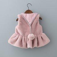 Wholesale Coated Cotton Fabric Wholesale - Girls fur vest Fashion Fleecy Winter Waistcoat Faxu Fur Children Outwear Coats Wear Fabric Kids Fur Vest C1981