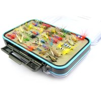 Wholesale fly fishing box case - 64Pcs Set lot Fly Fishing Lure Set Artificial Insect Bait Fish Trout Fly Fishing Hooks Tackle with Case Box High Quality