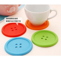 Wholesale Chinese Glass Mug - BY DHL 1000PCS Vorkin 1X Silicone Button cup mat placemat Coffee Placemat Button Coaster Cup Mug Glass Beverage Holder Pad Mat