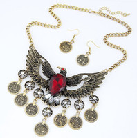 Wholesale Statement Necklaces Eagle - New eagle casted coins with stones statement necklace and earring set boho retro look free shipping