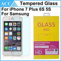 Wholesale Iphone 5s Screen Retail - For iPhone 7 Plus 0.3mm Tempered Glass Screen Protector For iPhone 5 5S 6 6S 7 Plus Galaxy Note4 Note5 S6 S7 9H 2.5D With Retail Package DHL