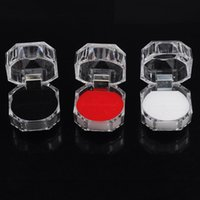 Wholesale Dust Plug Boxing - Rings Box Jewelry Clear Acrylic Cheap Jewelry Boxes Sale Wedding Gift Box Ring Stud Dust Plug Box [DSX07(60)]