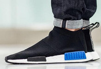 "Wholesale Buy Springs Online - NMD City Sock Primeknit Black Blue buy online Shoes With no laces and a snug Primeknit upper, Boost Primeknit ""Core Blac"