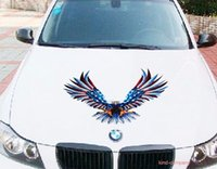 Wholesale Eagles Car Stickers - 1pcs seat truck vehical motor racing Car sport power auto eagle hawk head Vinyl emblem sticker Decals FOR motor hood side
