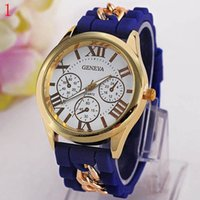 Wholesale Geneva Metal - Free shipping The new Geneva silicone Roman typeface False eye chain watches on sale at wholesale Metal strap decoration