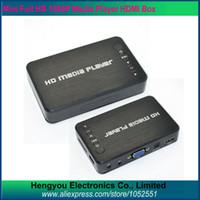 Wholesale Hdd Media Player Vga - HDMI Media Player 1080P Full Hd 1080P Media Player USB SD RMVB RM H.264 MKV AVI VOB with AV,YUV,VGA,HDMI port Mini Hdd player