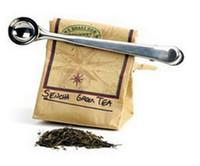 kaffee-clips großhandel-Edelstahl gemahlener Kaffee Messschaufel Löffel mit Tasche Seal Clip Silber
