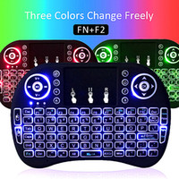 Wholesale Android Desktop Box - Backlight Mini Rii I8 Keyboards 2.4G Wireless Mouse Keyboard Multi-color Backlit With Gamepad for tv box android