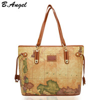 Wholesale world map bag brand online - High quality world map women bag fashion handbag High capacity school bags brand design tote bag Casual shoulder bags HC Z