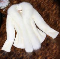 ingrosso bottoni di pelliccia-Donna Bianca Faux cappotto di visone del Capo pelliccia di volpe collo di pelliccia del cappotto del bicchierino tuta sportiva calda del Slim Button coperto Soprabito Femininos