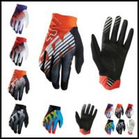 Wholesale finger gear - FOX MTB Racing Gloves 5 Rainbow Colors Winter Motocross Dirtpaw Rockstar Full Finger Protective Gear for Men Women