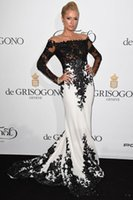 Wholesale Celebrity Inspired White Long Dresses - 2014 Inspired by Byparis Hilton De Grisogono Fatale in Cannes France May Off Shoulder Long Sleeve Black and White Celebrity Evening Dress