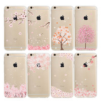Wholesale Cherry Blossom Wallet - Cherry blossoms Apple 7 Case for iphone 7 plus 6 6s 5 5s 5c Samsung note 7 S7 S6 edge plus S5 S4 Cover Flower Style TPU Shell Soft Cases