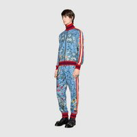 Wholesale Baseball Suits - 2017 luxury designer brand best version Autumn men clothing red blue striped Tracksuits flowers print zipper suit baseball jacket sweatshirt
