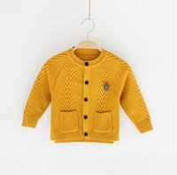 Wholesale England Clothing Styles - Children knitting sweater Autumn baby boys double pockets England style cardigan Kids single-breasted label outwears Boys clothes