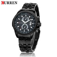 Wholesale Display Relojes - Brand New Curren 8082 Watch Men Fashion Casual Dress Wristwatch Curren Date Display Stainless Stell Analog Relojes Watches wholesale