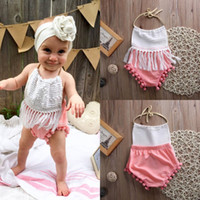 Wholesale Cute Christmas Baby Girl Clothes - high quality baby girls outfits Newborn Infant child Girl Clothes Tassels Strap cute pink Romper Bodysuit Jumpsuit top Outfits free shipping