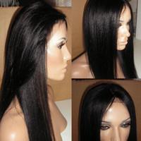 Wholesale Lace Wigs Yaki Straight - 7A Italian Yaki Glueless Full Lace Human Hair Wigs For Black Women Brazilian Hair Italian Yaki Lace Front Human Hair Wigs
