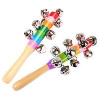 ingrosso campane musicali per bambini-Bastone di legno 10 Jingle Bells Arcobaleno Hand Shake Bell Rattles Baby Kids Bambini Educational Toy - Orff Instruments