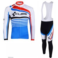 Wholesale Cube Cycling Set - 2017 CUBE men cycling jersey sets spring long Sleeves MTB bike maillot ropa Ciclismo quick dry tour de france Bicycle clothing C0404
