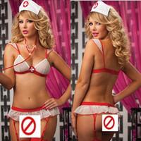 Wholesale white nurses uniform dress - Nurse Uniform Temptation Sexy Underwear Hot Women Ladies Sexy Naughty Nurse Lingerie Fancy Dress Party Outfit Sexy Costumes