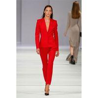 ingrosso giacca uniforme rossa delle donne-Red Set Donna Abiti da lavoro Ladies Office Uniform Elegant Pant Abiti da 2 pezzi (giacca + pantaloni) realizzati su misura