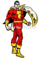 "Wholesale Wholesale Superhero Patches - 4.5"" Superhero Shazam Classic Comics DC Captain Marvel Hero Badge TV movie Embroidered sew on iron on patch applique"