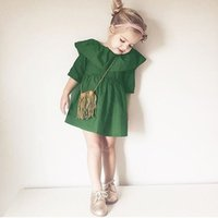 Wholesale Half Clothing - 2017 fashion Baby girl dress Girls clothes Big cape ruffled collar green dress New summer autumn half sleeve kids clothing quality
