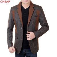 Wholesale Cheap Men S Blazer Jackets - Wholesale- CHEAP Blazer male Fashion Wool jacket coat NEW100% Autumn winter Middle-aged man jacket High quality Leisure suit jacket BN2125