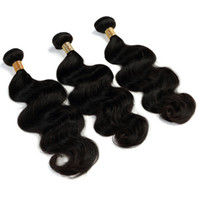 Wholesale tight human hair online - 8A Grade Indian Natural Body Wave Hair Bundles Total g Tight and full Unprocessed Virgin Human Hair Extensions Natural Color