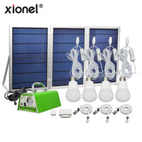 Wholesale Emergency Home Phone - Xionel Solar Panel Lighting Kit,Solar Home DC System USB Solar Charger Power with 4 LED Light Bulbs as Emergency Light