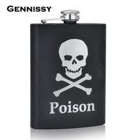 Wholesale Skull Hip Flask - Wholesale-GENNISSY Personalized Alcohol Flasks 8oz Fashion Skull Design Stainless Steel Mini Hip Flask Camp Outdoor Portable Whiskey Flask