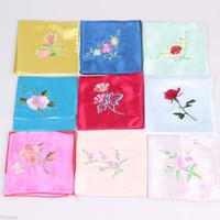 Wholesale Handmade Embroidered Handkerchiefs - wholesale 100pcs Chinese Stylish Handmade Colorful Embroidered Silk Handkerchief